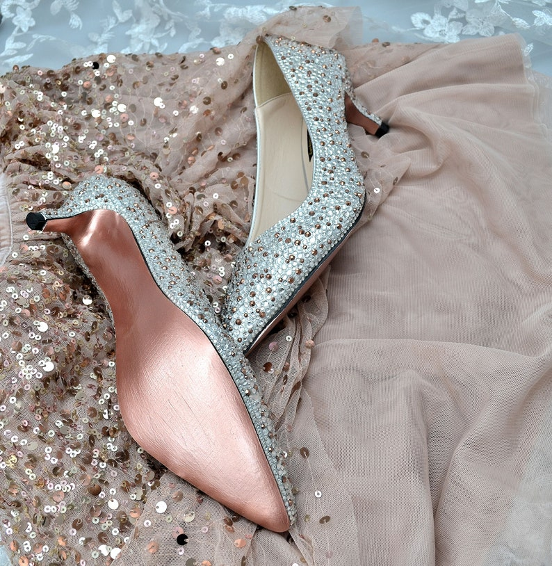 1ae6d2907d0ce Custom Rose Gold and Silver pointed swarovski crystal wedding bridal Low  KItten Heel closed Pump