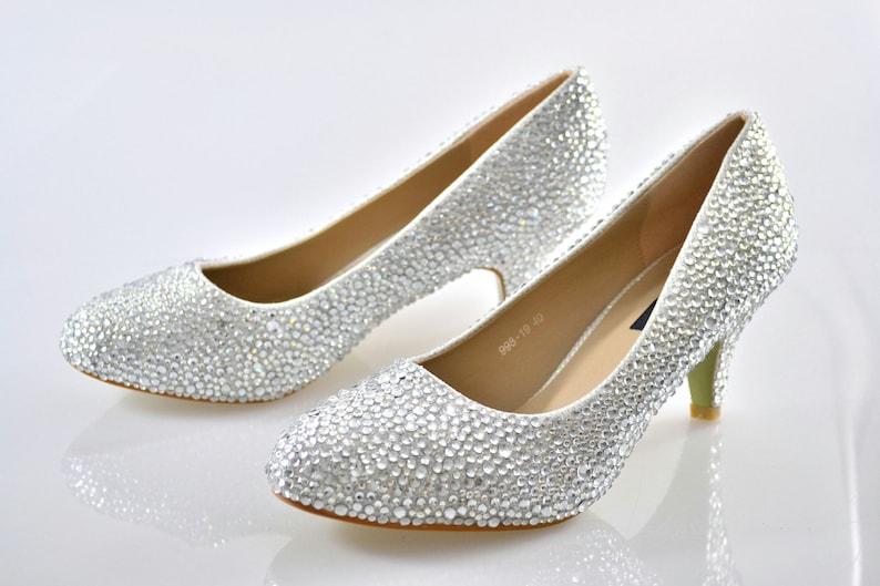 f54763cf2d3a9 Swarovski Crystal Glitter Silver Custom Bridal Low kitten Heel round toe  Luxury White Leather Pump court
