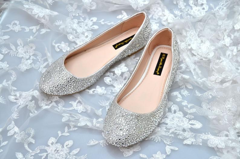 7009ffd5968b Custom silver swarovski crystal wedding bridal Low Heel roudn