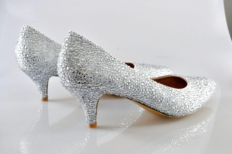 76944b92ad18 Swarovski Crystal Glitter Silver Custom Bridal Low kitten Heel