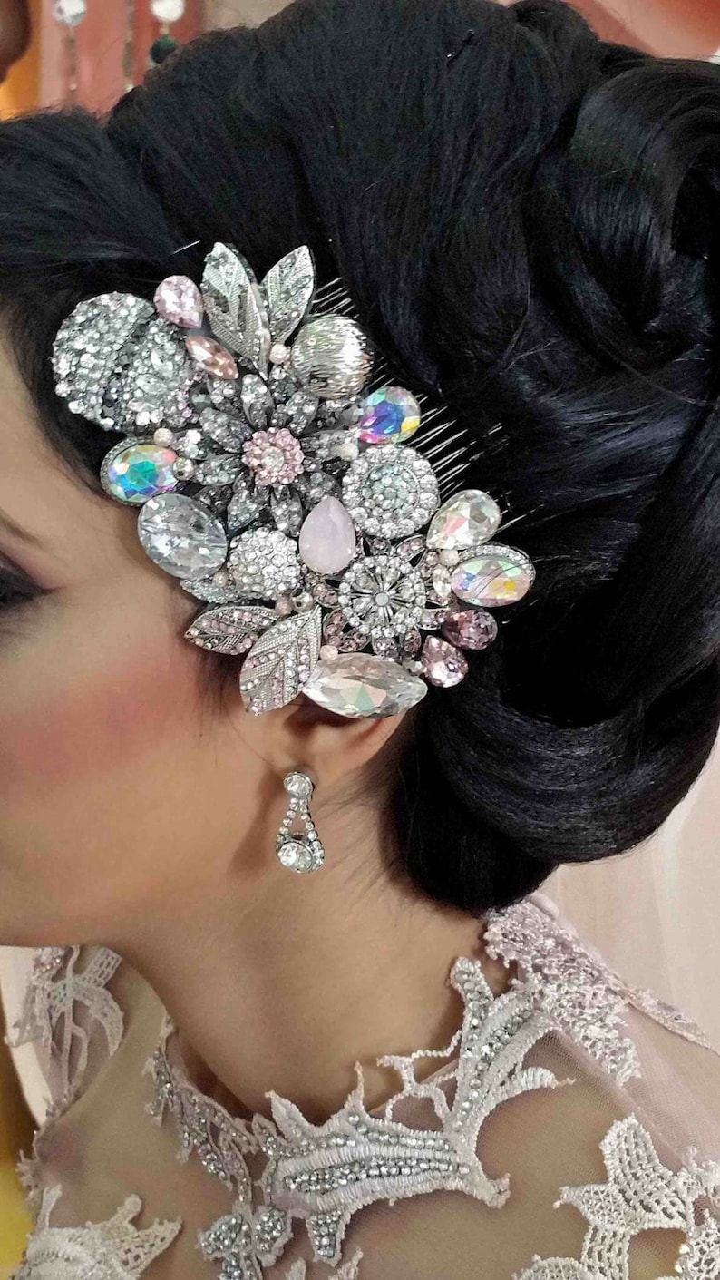 Swarovski crystal Blush Pink and Silver grey AB Classic Gatsby image 0