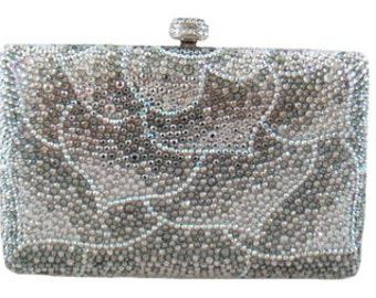 Swarovski ELEMENTS leaf Patterned Silver White Mauve Crystal Minaudiere Metal case rectangle box clutch purse bag