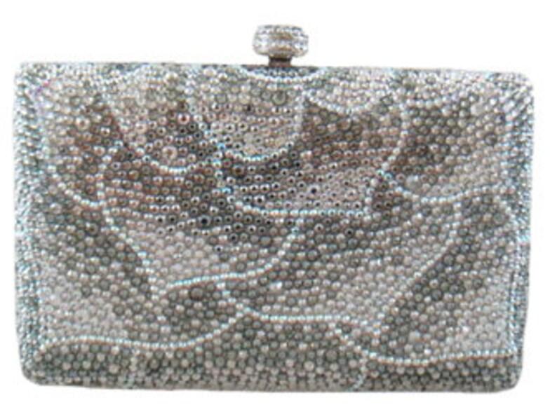 Swarovski ELEMENTS leaf Patterned Silver White Mauve Crystal image 0