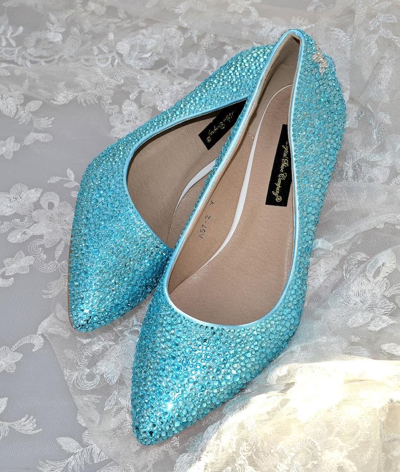 f829d3cf40010 Swarovski Crystal Aqua light blue Custom Bridal Low kitten Heel pointed  Stiletto Luxury Leather Pump