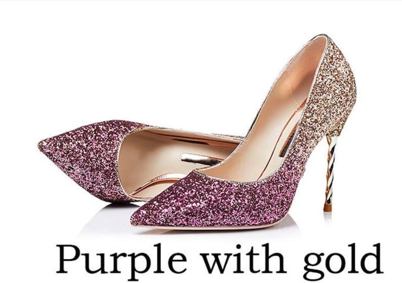 200a5c436d29 Glitter Mid Heel Ombre Stiletto Luxury sparkle Red purple