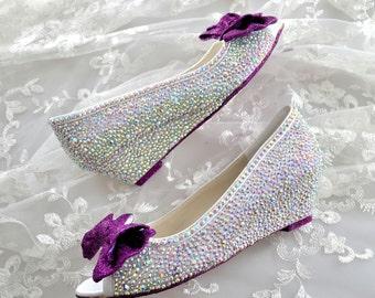Custom Cadbury Purple glitter sole & AB swarovski crystal wedding bridal Low Heel Peeptoe Wedge Bow Heel