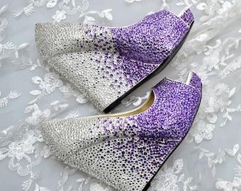 Custom Cadbury Purple Ombre and Silver swarovski crystal wedding bridal high Heel Peeptoe platform Wedge