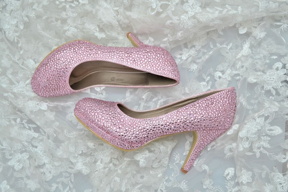 53e71a97cee Swarovski Crystal Light Rose Blush Pink Princess Bridal Mid Heel Luxury  Custom platform peep toe Leather Pump