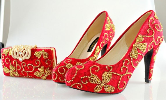 080d002a5b4c Custom Swarovski Crystal Indian Bridal Wedding Medium Heel Red