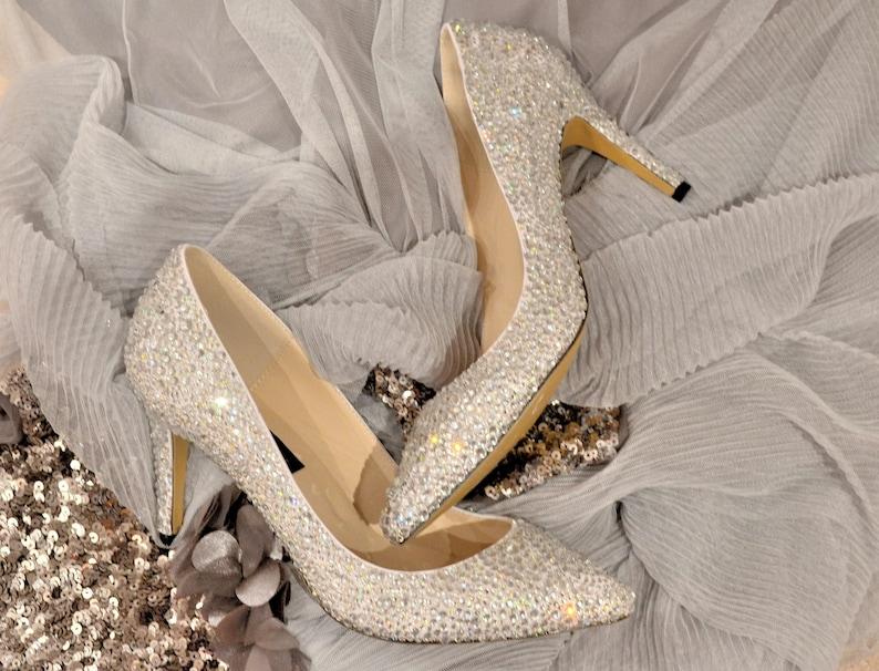 0ff61961f247 Swarovski Crystal White Silver Cinderella Glitter Bridal Mid