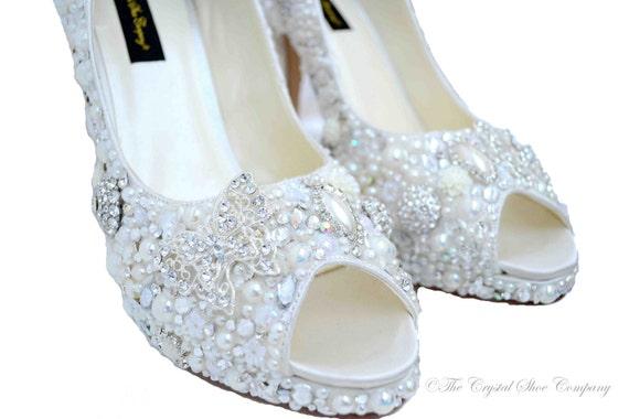 ce3f3c6ed1e79 Swarovski crystal Cinderella Princess Peeptoe Vintage Lace
