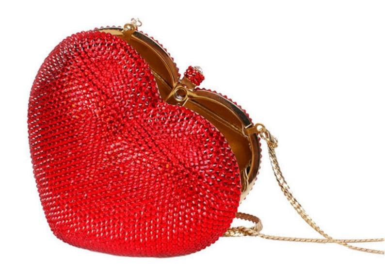 Swarovski crystal Red Gold Bronze Pink or Silver Pink Heart image 1