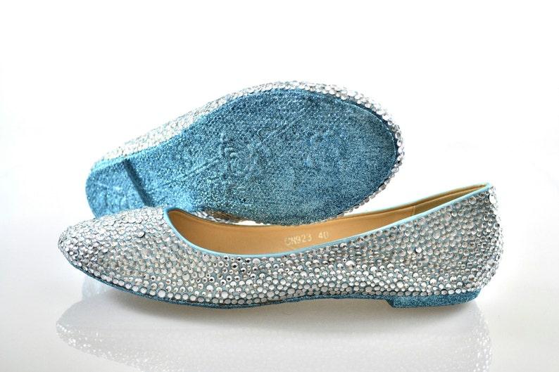 Custom Ice Powder Blue glitter sole   Silver swarovski crystal  855ac01d91