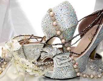 Swarovski crystal wedding bridal peeptoe platform ivory bow front high heel pump
