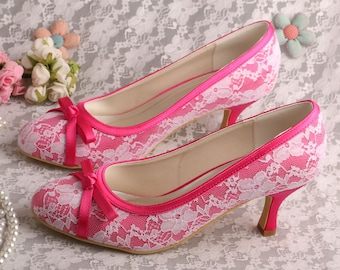 Custom handmade pink Blue Lace Bridal wedding satin low heel bow front court pump 20 colours!