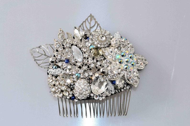 Swarovski crystal Silver White & Blue Pearl Classic Vintage image 0