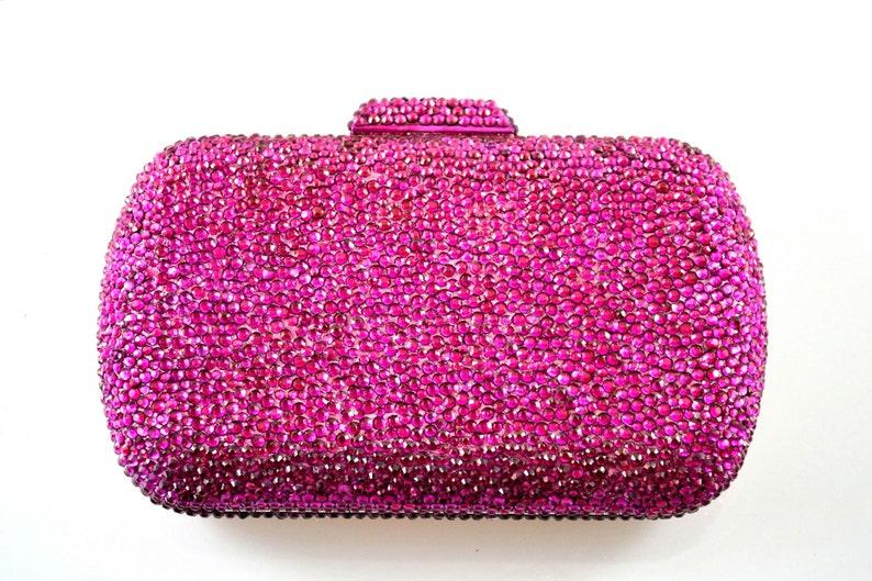 Swarovski ELEMENTS Ruby Fuchsia Pink rectangle square shape image 0