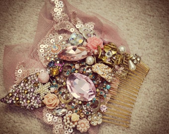 Swarovski crystal Pink and Gold Crystal & Lace Net Classic Vintage Bridal Hair Comb Piece Slide