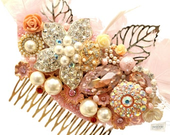Swarovski crystal Baby Pink Gold Ivory Silver Gatsby Feather 1920s Crystal Classic Vintage Bridal Hair Comb Piece Slide