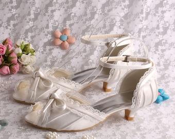 Custom handmade Peeptoe ivory purple satin bow front Low heel dorsay ankle strap bridal wedding lace pleat victorian court pump