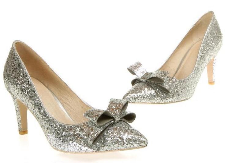 80d07b5d2e7e Glitter Mid Heel Stiletto Corset Luxury Gold Silver Party Bow