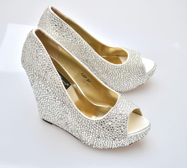 6a99e3200 Custom Silver swarovski crystal wedding bridal high Heel