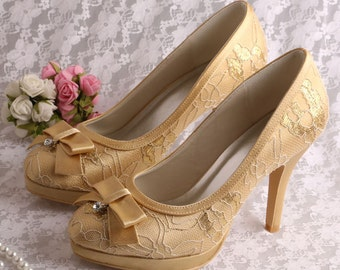 Custom handmade Gold or red Lace Bridal Platform satin court high heels with bow finish - 6 colours!