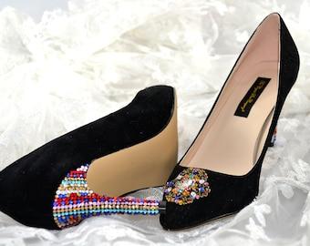 Swarovski crystal Multi Black Velvet Suede Vintage brooch embellished Court High heel shoe pump