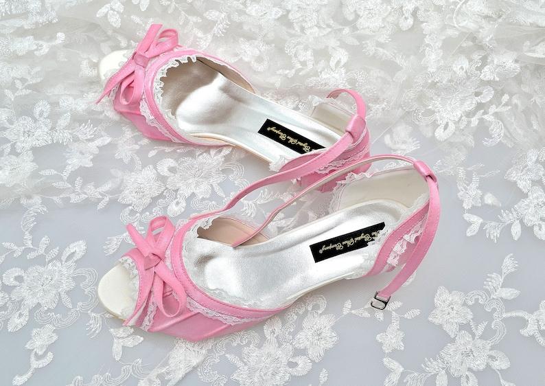 761af3bd93 Custom handmade Peeptoe Blush Rose Pink satin bow front Low | Etsy