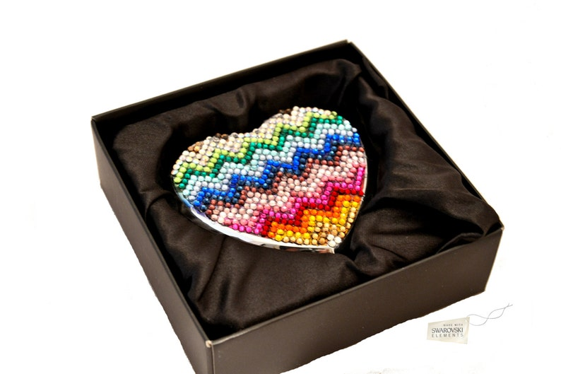 Swarovski ELEMENTS crystal compact pocket heart shape hinged image 0