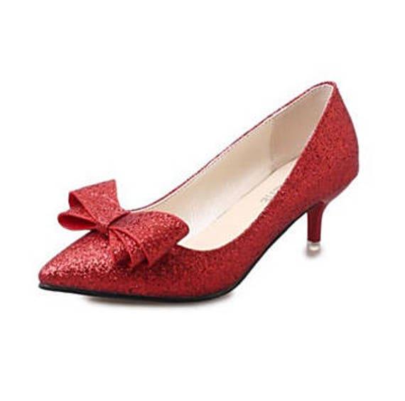 648657bd124d Glitter low Kitten Heel Luxury Gold Silver red Black Party Bow
