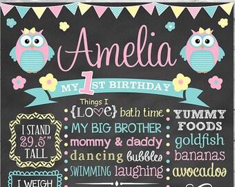 Owl First Birthday Chalkboard Printable,  Owl Birthday, First Birthday Chalkboard Sign, Owl Birthday