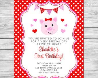 Hogs & Kisses Invitation Front and Back - Birthday Party Invitation Printable - Valnetine's, Pig Birthday