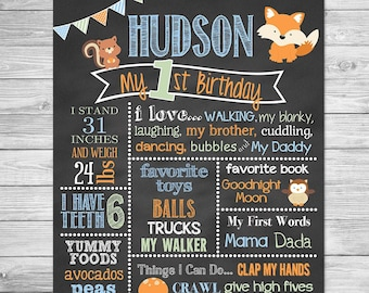 Camper Fox Woodland First Birthday Chalkboard Printable Forest Animals Birthday Chalkboard Sign Chalkboard Poster Woodland Birthday