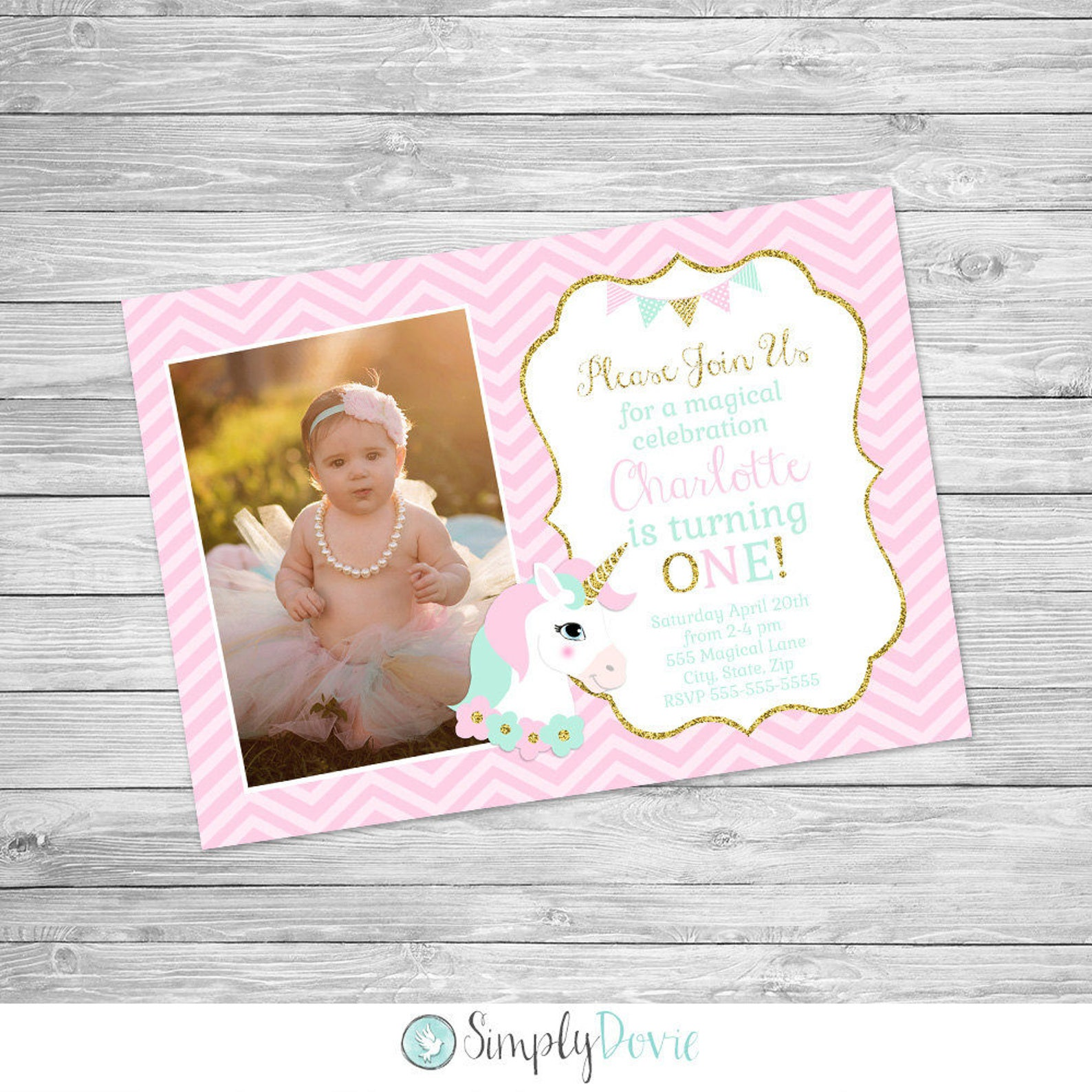 Printable Unicorn Photo Invitations Page Three