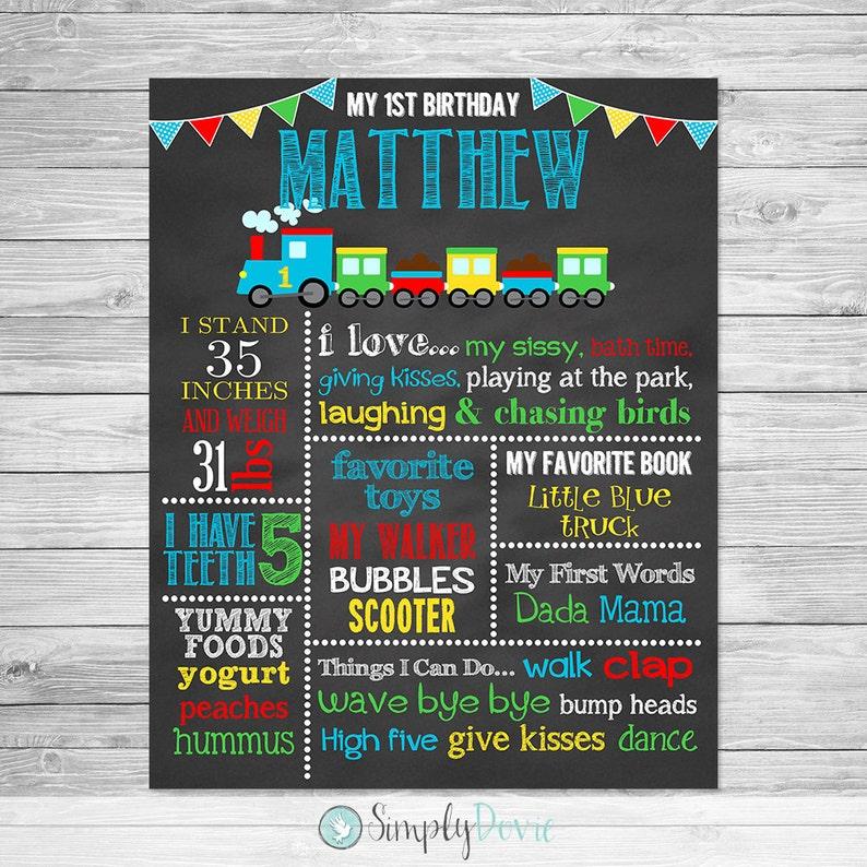 Train Birthday Chalkboard Poster Printable, Train First Birthday, First  Birthday Chalkboard Printable Sign, Train Birthday
