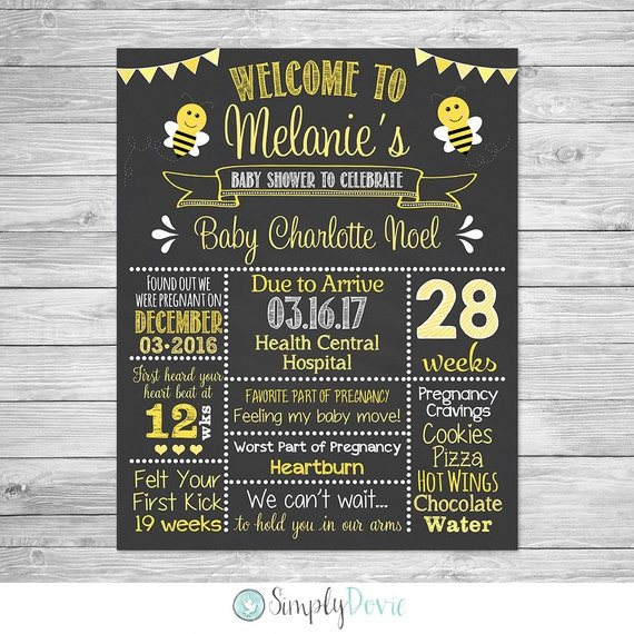 bumble bee baby shower chalkboard printable sign baby girl baby