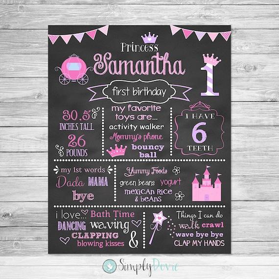 First Birthday Princess Chalkboard Poster Printable
