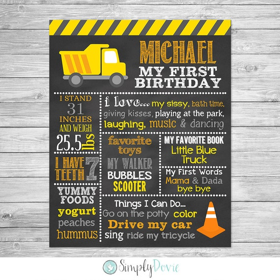 construction birthday chalkboard poster printable first birthday