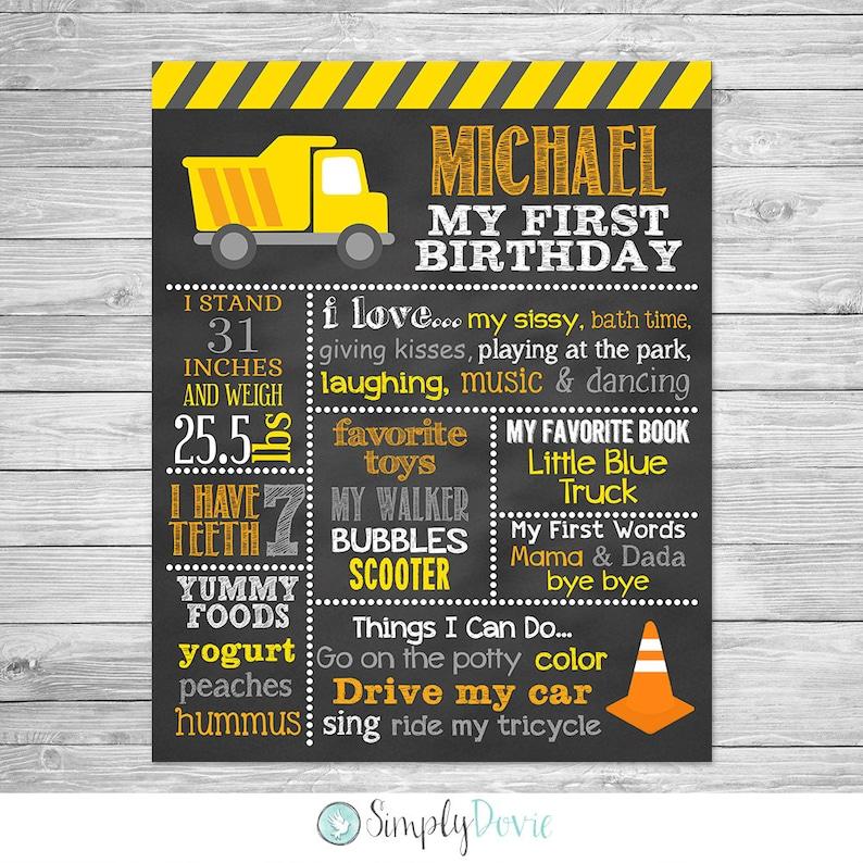 Construction Birthday First Birthday Chalkboard Printable Sign Construction Birthday Chalkboard Poster Printable Dump Truck