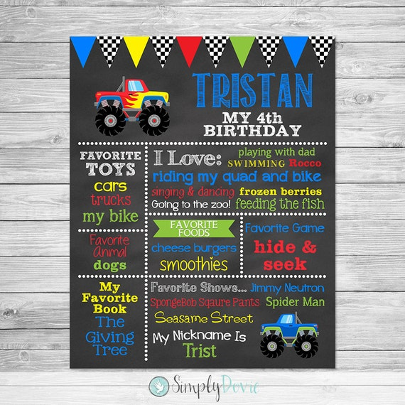 Monster Truck Birthday Chalkboard Sign Printable Decorations
