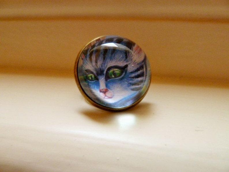 Sad Kitty antique bronze color. Cat adjustable ring