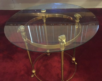 Brass Rams Head Drinks Table Maison Janson Jenson Style Table With Paws  Hooves Glam Just Came In Heavy Solid Brass 1980s 1970s