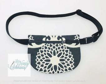 Black and White Floral Waist Pouch, black waist pouch, black fanny pack, fanny pack, belt bag, moon bag, belly bag, bum bag, hip bag, floral