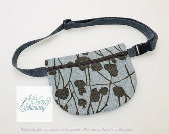 Dusty Blue Floral Waist Pouch, blue waist pouch, blue fanny pack, fanny pack, belt bag, moon bag, belly bag, bum bag, hip bag, phone carrier