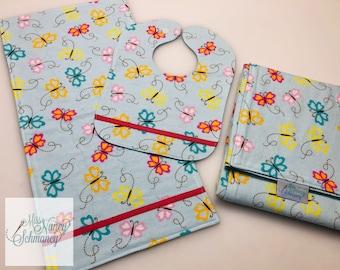 Custom Baby Gift, Baby Set, bib, burp cloth, blanket, your theme