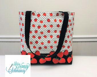 Strawberry Tote, strawberry tote bag, strawberries tote, Tote bag, handmade tote bag, tote bags for women, shoulder tote bag, red tote bag