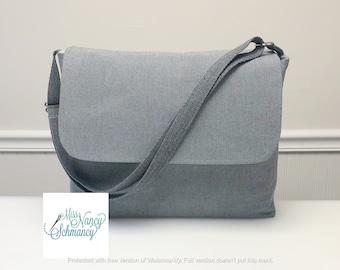 Grey Herringbone Messenger Bag, grey messenger bag, gray messenger bag, messenger bag men, unisex messenger bag, work bag men, gift for him