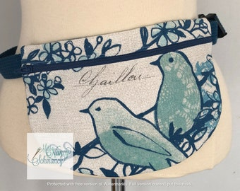 Aqua Birds Waist Pouch, aqua waist pouch, aqua fanny pack, fanny pack, belt bag, moon bag, belly bag, bum bag, hip bag, phone carrier, blue