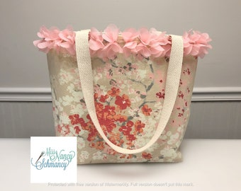 Love Blossoms Tote, pink floral tote, pink tote bag, floral tote bag, pink tote, pink bag, tote bag, handmade tote bag, tote bags for women